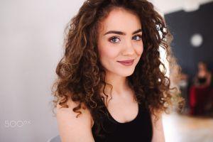 women long hair black tops portrait wavy hair face smirk brunette