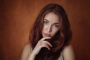 women looking at viewer blue eyes face portrait brunette simple background