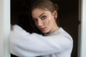 women model portrait blue eyes coats face brunette dmitry sn looking at viewer women indoors depth of field