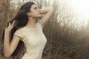 women outdoors brunette women white dress long hair profile model arms up looking up dress
