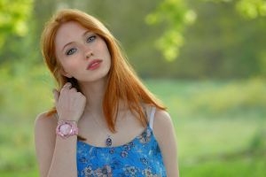 women outdoors freckles long hair watch depth of field redhead looking at viewer model touching hair tank top necklace women outdoors portrait gray eyes
