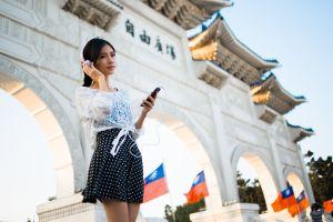 women outdoors headphones model dark hair asian women photography urban