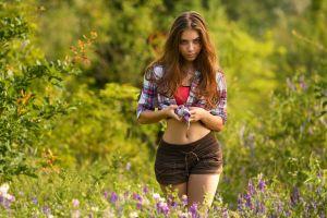 women outdoors nature women plaid shirt belly short tops tied top short shorts portrait