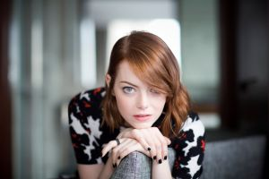 women painted nails blue eyes emma stone women indoors redhead actress living rooms