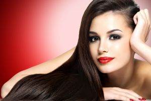 women red nails brown eyes brunette red lipstick face model