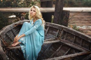 women sitting blonde long hair blue dress model looking at viewer women outdoors alice tarasenko barefoot