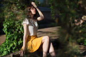 women sunlight sitting model plants skirt women outdoors