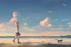 women walking water anime sky clouds rocks short hair looking up skyscape beach artwork sand anime girls anime sea