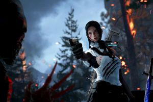 women weapon claws gun sword