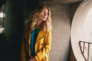 women yellow coats coats long hair blonde
