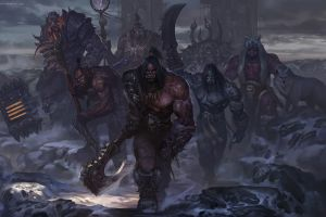 world of warcraft staff snow chenbo axes armor gates wolf warcraft fantasy art weapon orks sword garrosh hellscream