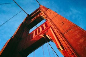 worm's eye view san francisco bridge golden gate bridge