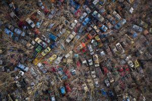 wreck car vehicle bird's eye view