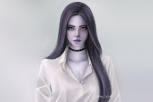 yellow eyes widowmaker (overwatch) purple lipstick women artwork simple background face long hair fantasy girl cleavage