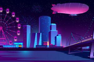 zeppelin artwork city bridge carnival