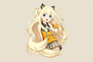 zettai ryouiki blonde skirt blue eyes shirt simple background anime girls thigh-highs seeu long hair vocaloid