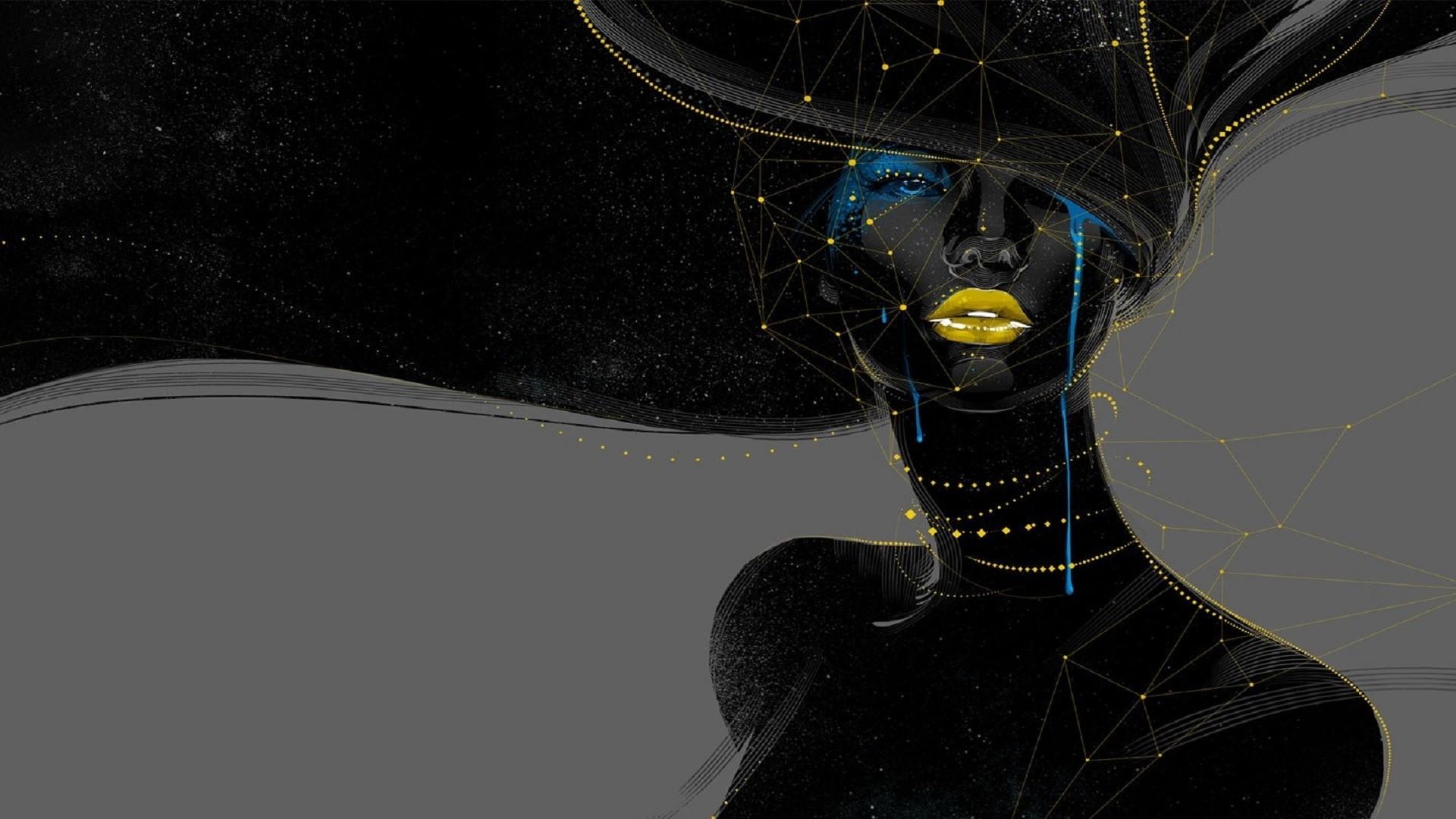 abstract women face geometry digital art