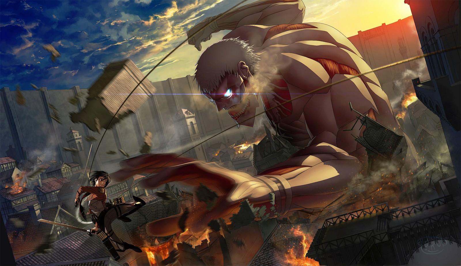 anime girls shingeki no kyojin mikasa ackerman armored titan anime