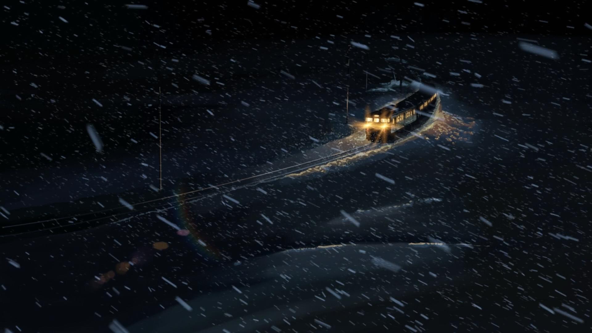 anime winter night 5 centimeters per second train snow lights