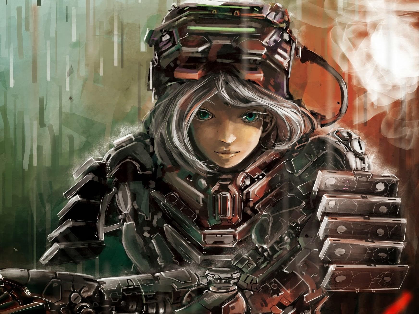 armor futuristic anime anime girls science fiction artwork