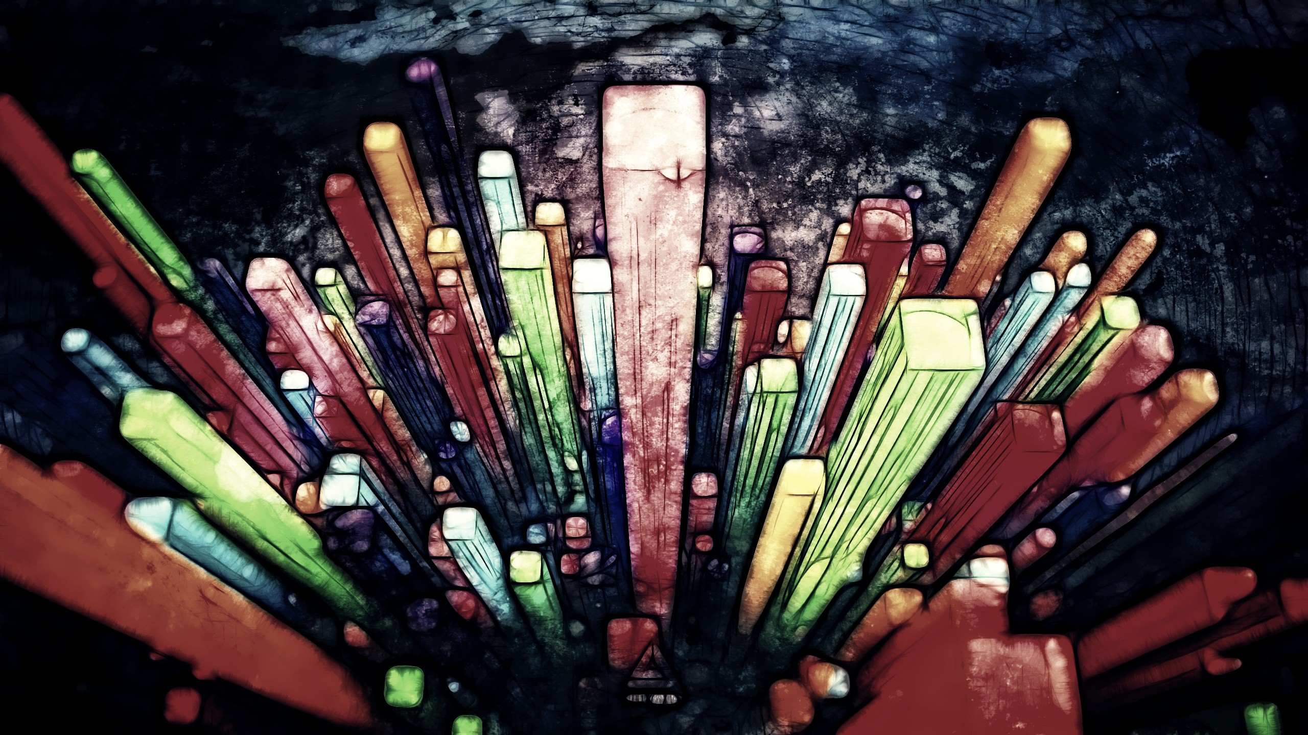 artwork lacza colorful abstract geometry dark surreal
