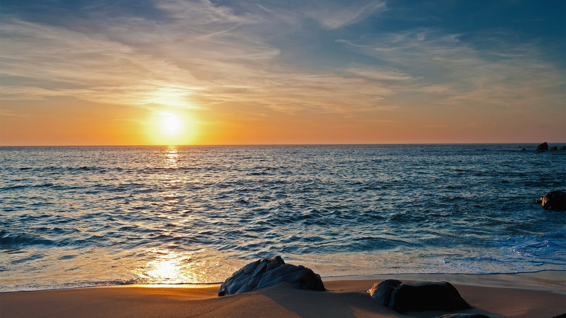 beach sea horizon sky