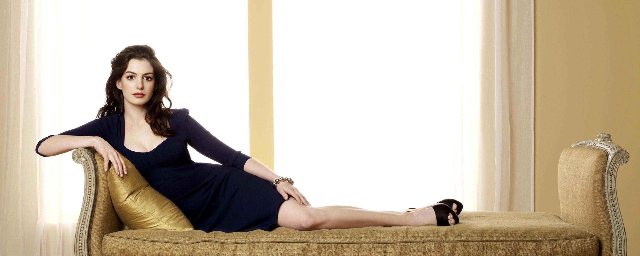 brown eyes lying down couch dress women anne hathaway brunette legs