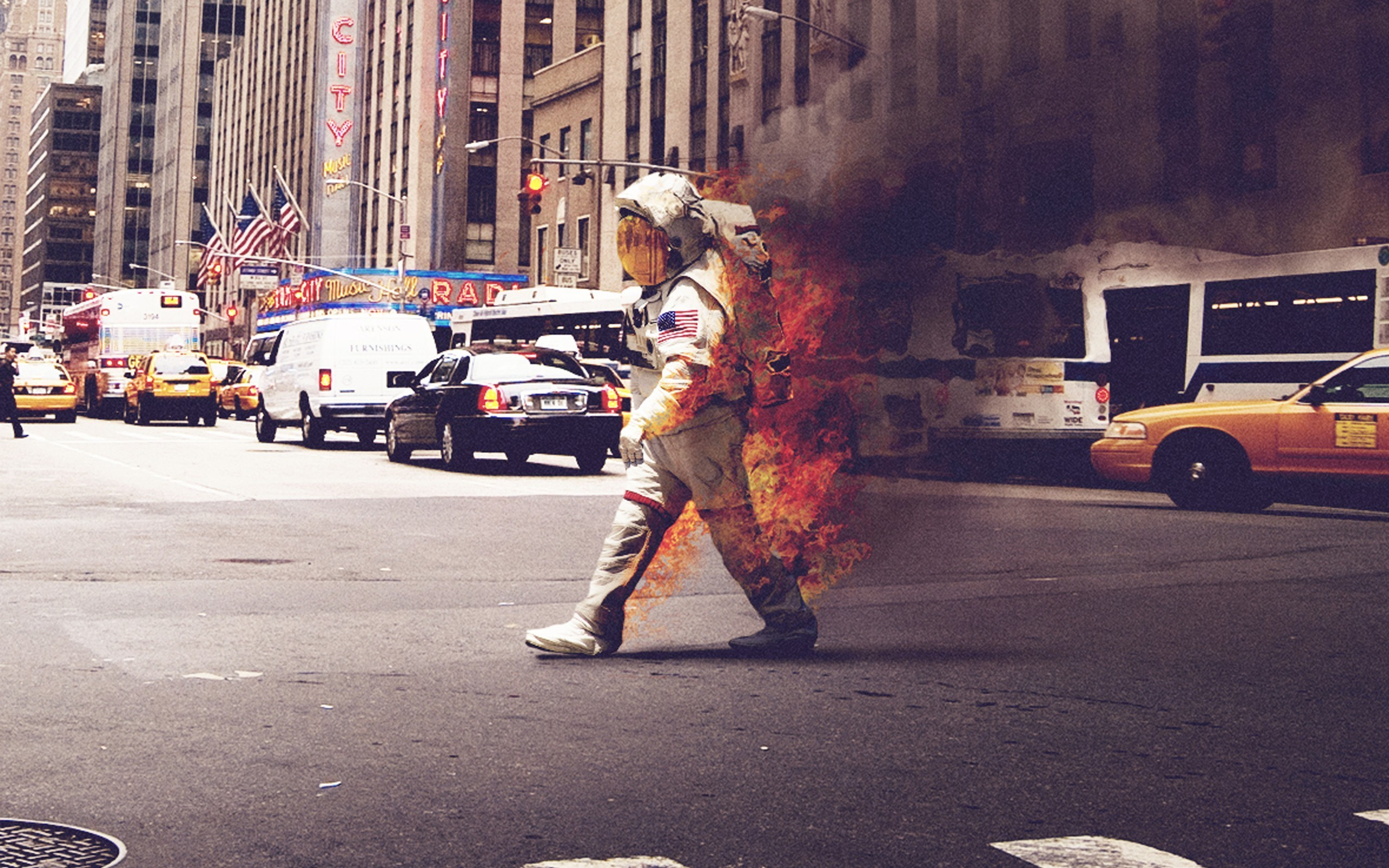 burning cityscape asphalt smoke city helmet fire astronaut usa street
