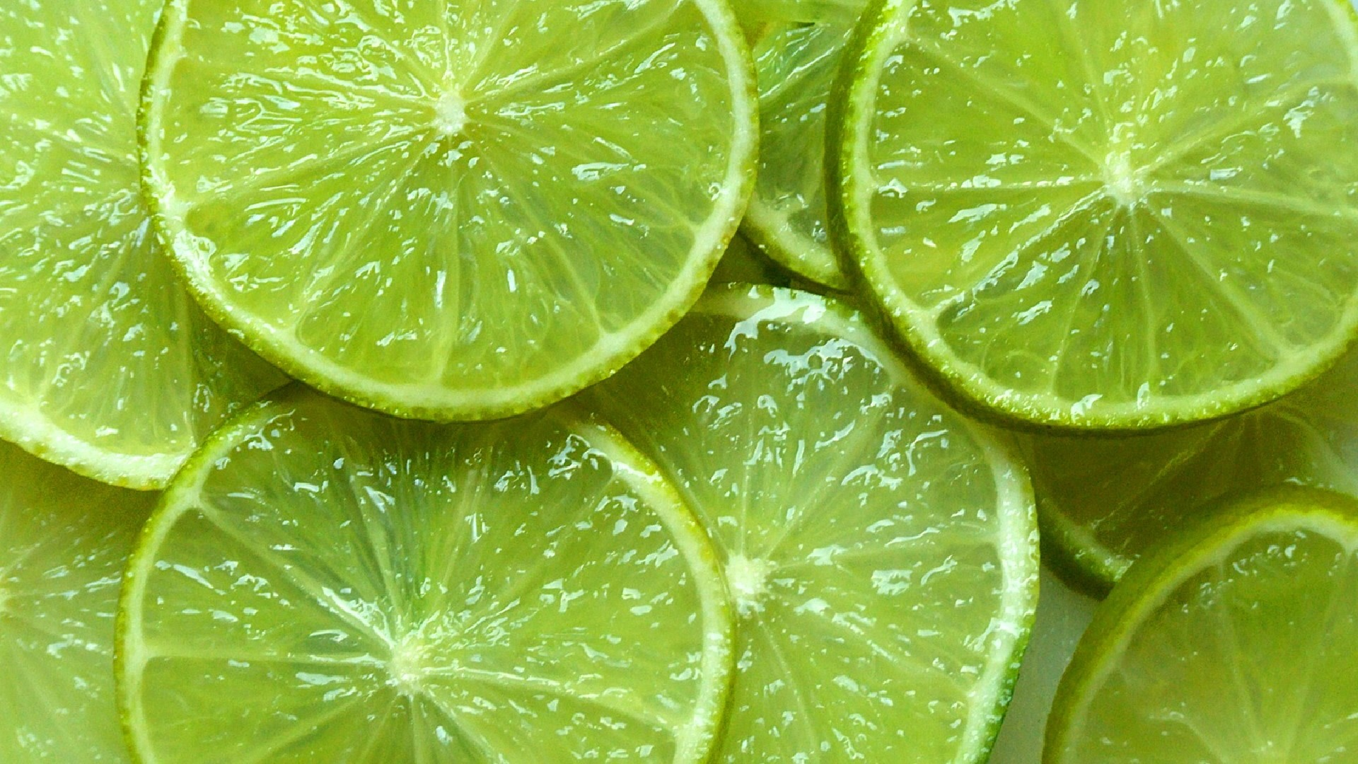 closeup slices fruit limes