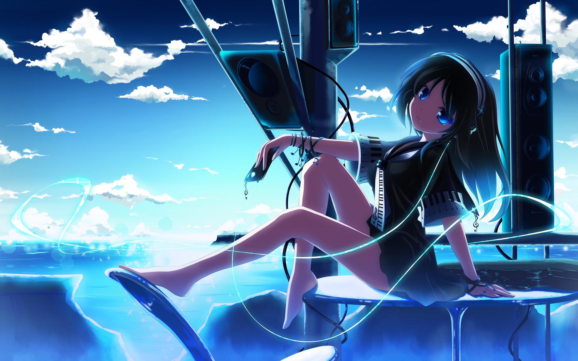 clouds sky anime girls anime headphones blue eyes long hair speakers black hair