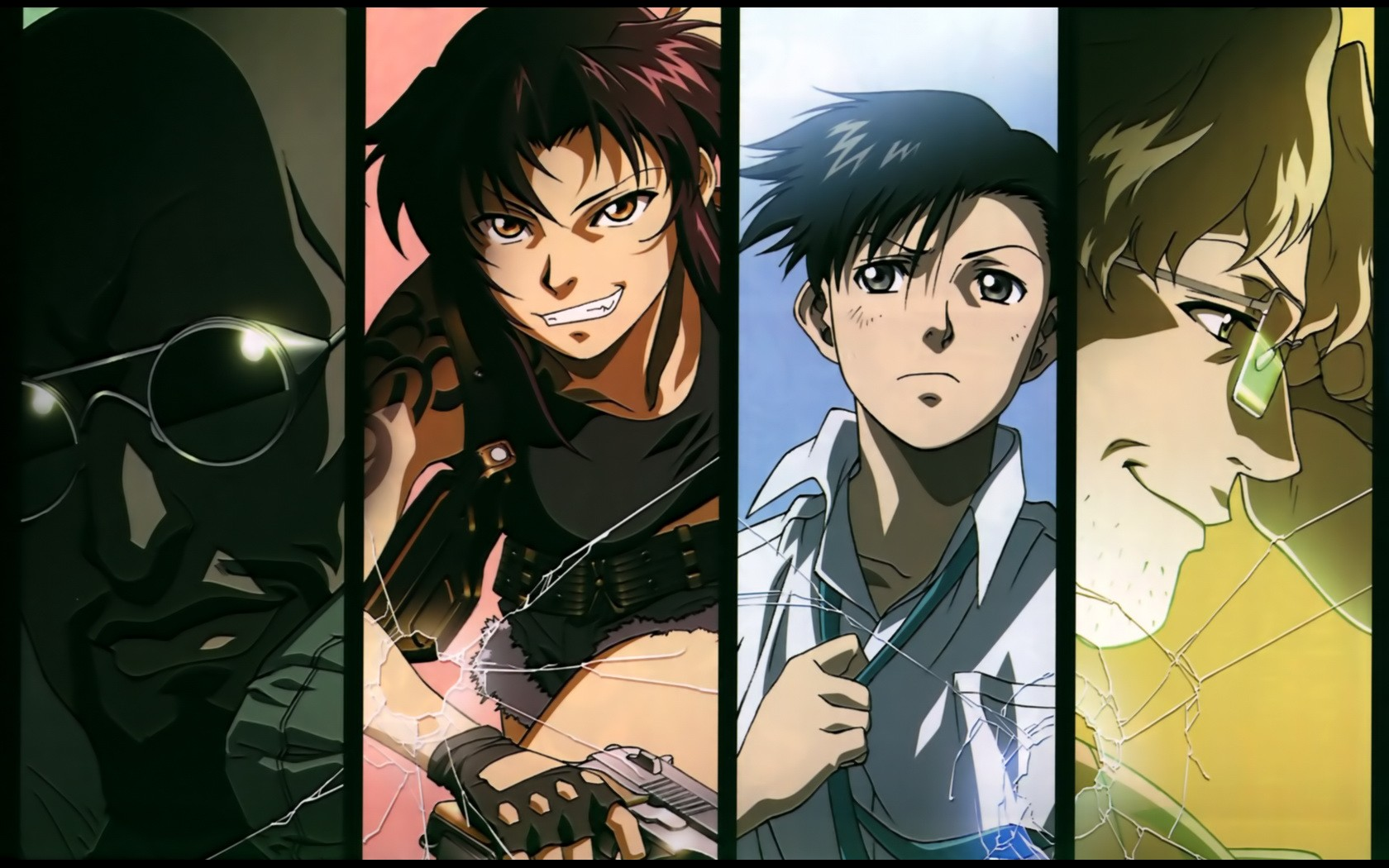 collage ducth benny anime rokuro black lagoon panels anime boys gun okajima