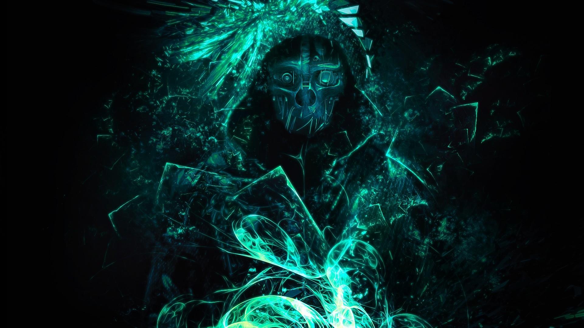 corvo attano artwork dishonored video games glowing dishonored corvo simple background