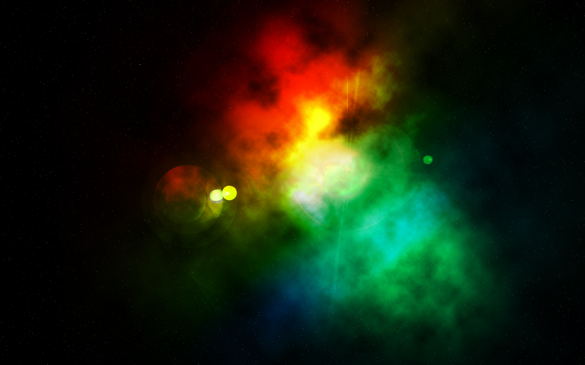 digital art green space art yellow space red