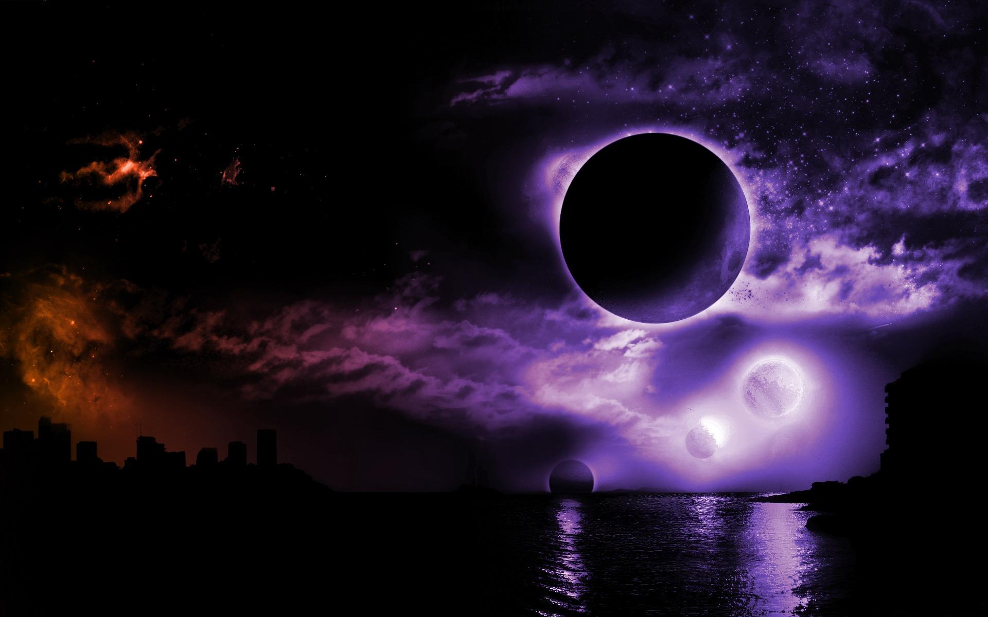 digital art purple night water space art dark fantasy dark moon kansas city space colorful sky planet fantasy art