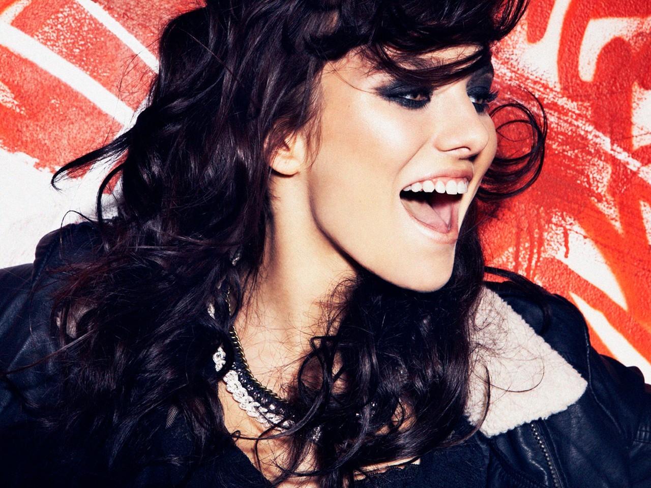 face long hair brunette model ewa farna women open mouth