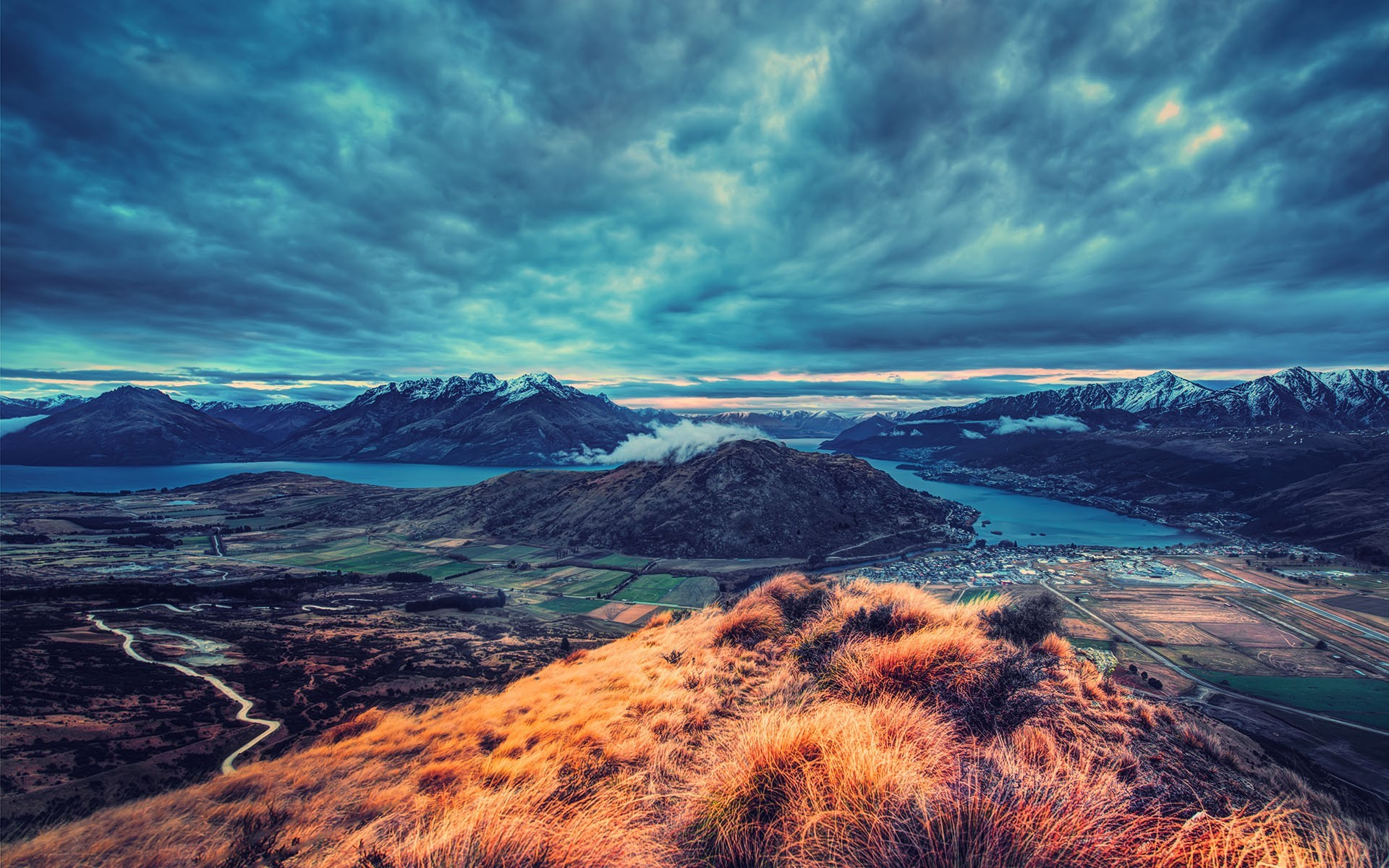 hills mountains field lake road grass snowy peak evening nature overcast landscape hdr new zealand clouds