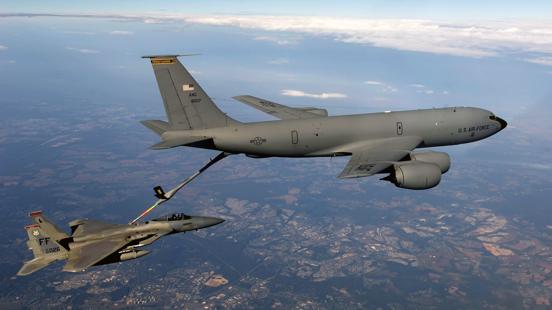 jets airplane boeing kc-135 stratotanker f15 eagle aircraft military aircraft military
