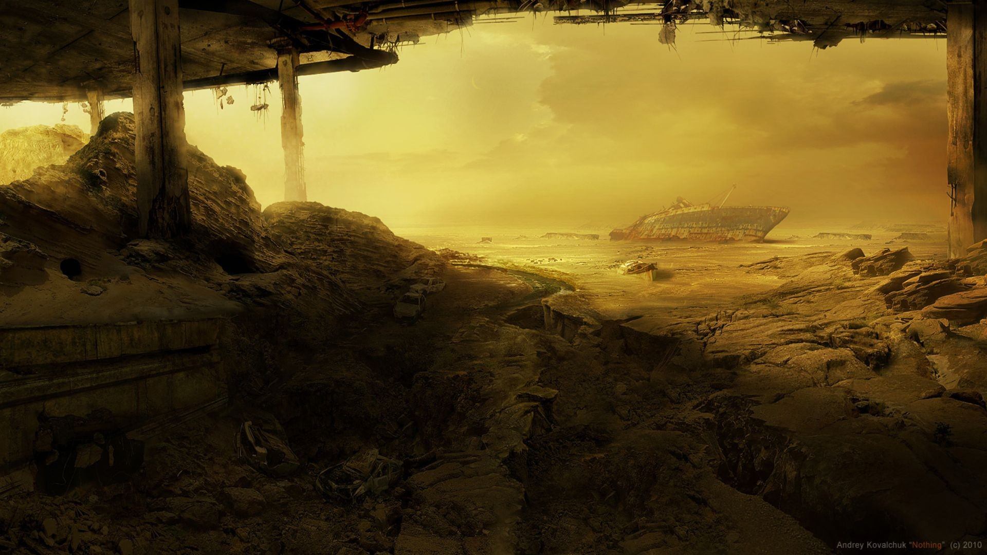 landscape shipwreck wreck futuristic apocalyptic artwork dark 2010 (year) apocalyptic science fiction