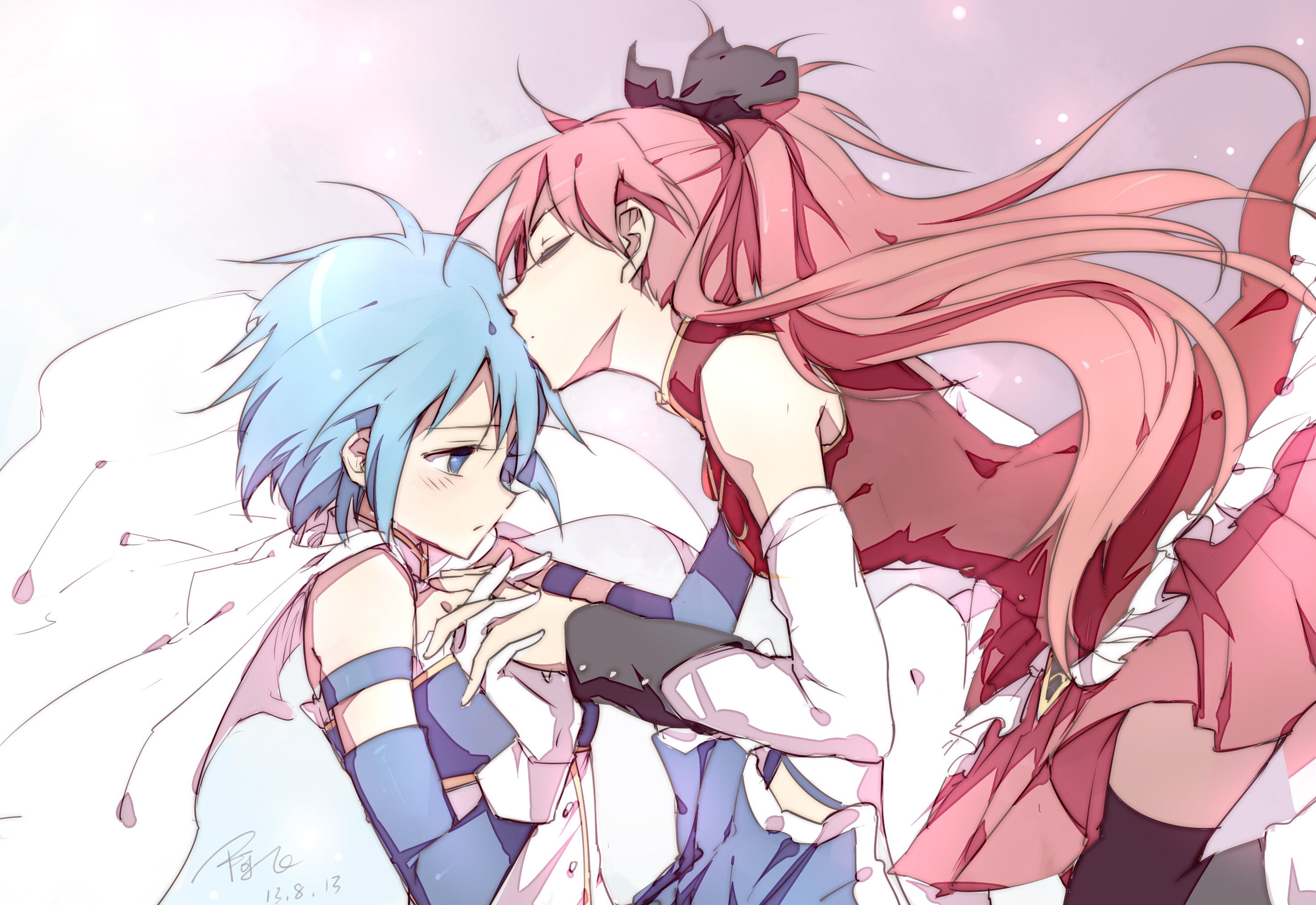 long hair blue hair anime girls mahou shoujo madoka magica anime miki sayaka sakura kyouko kissing