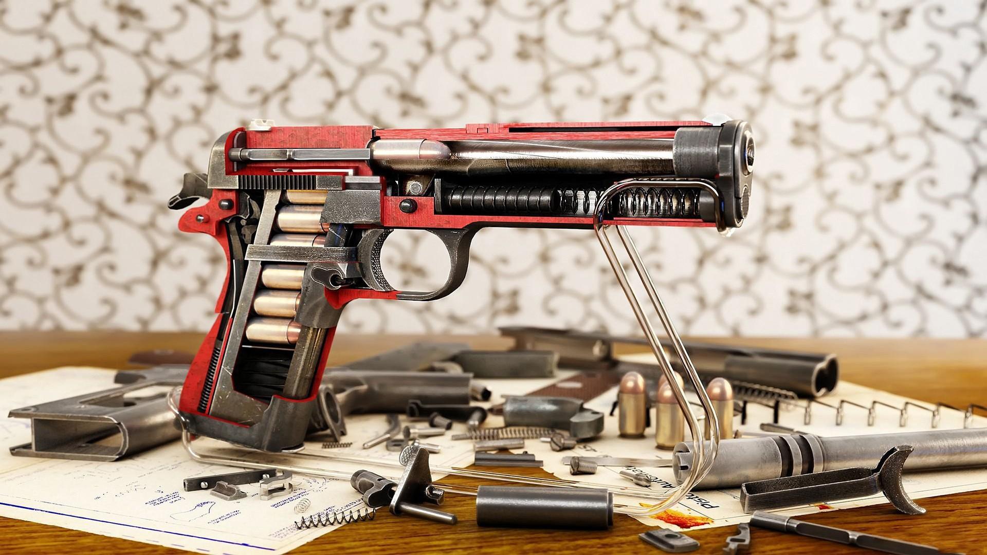 m1911 cutaway ammunition 1911 .45 colt gun pistol