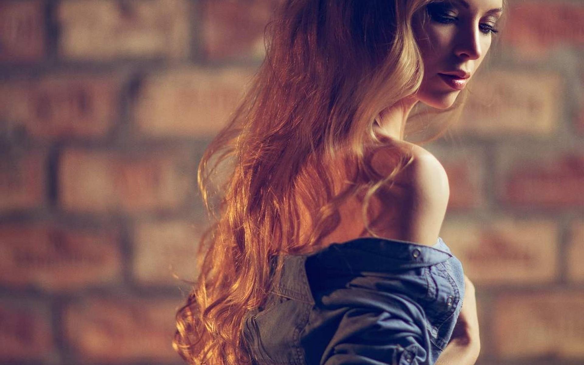 model long hair women redhead
