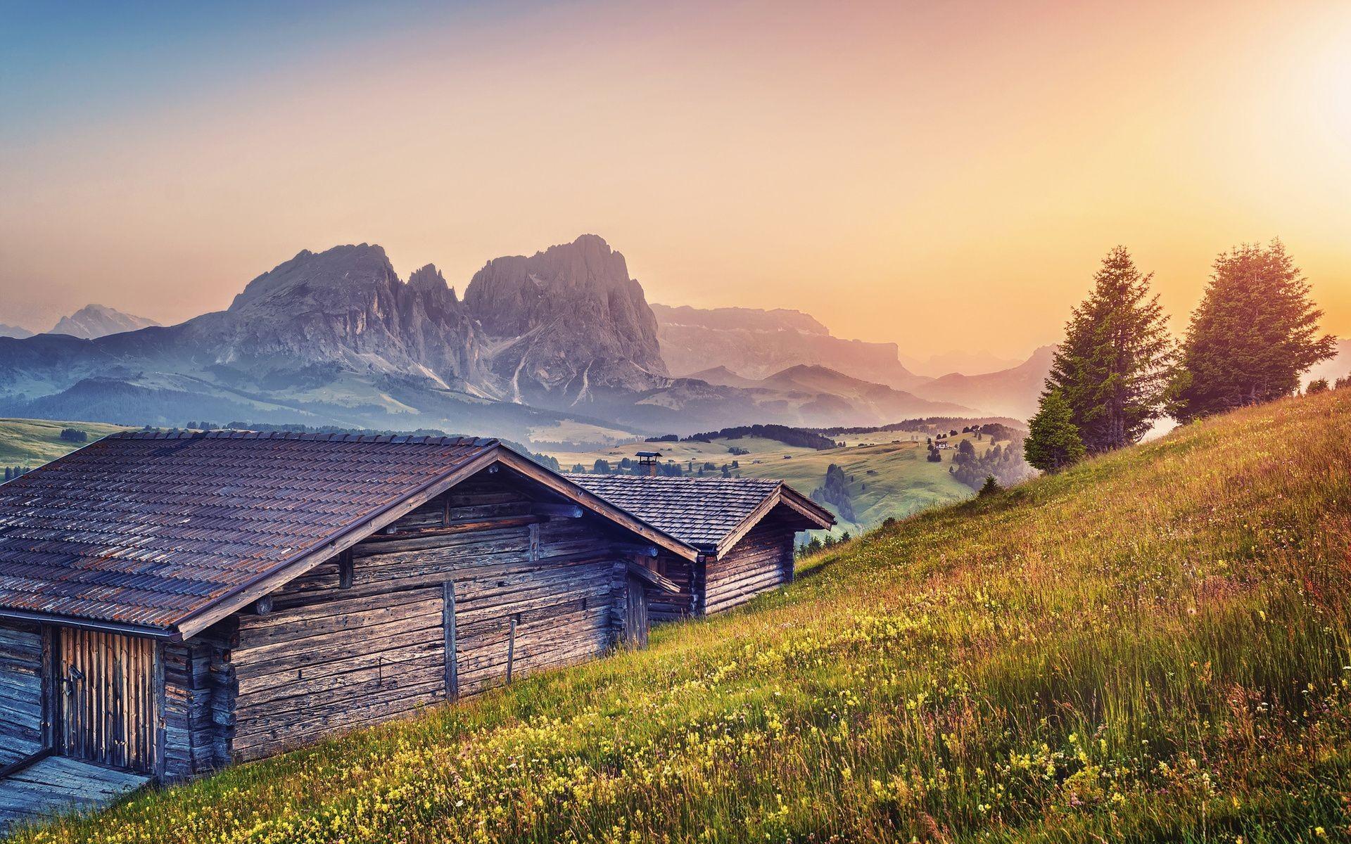 mountains landscape cabin nature