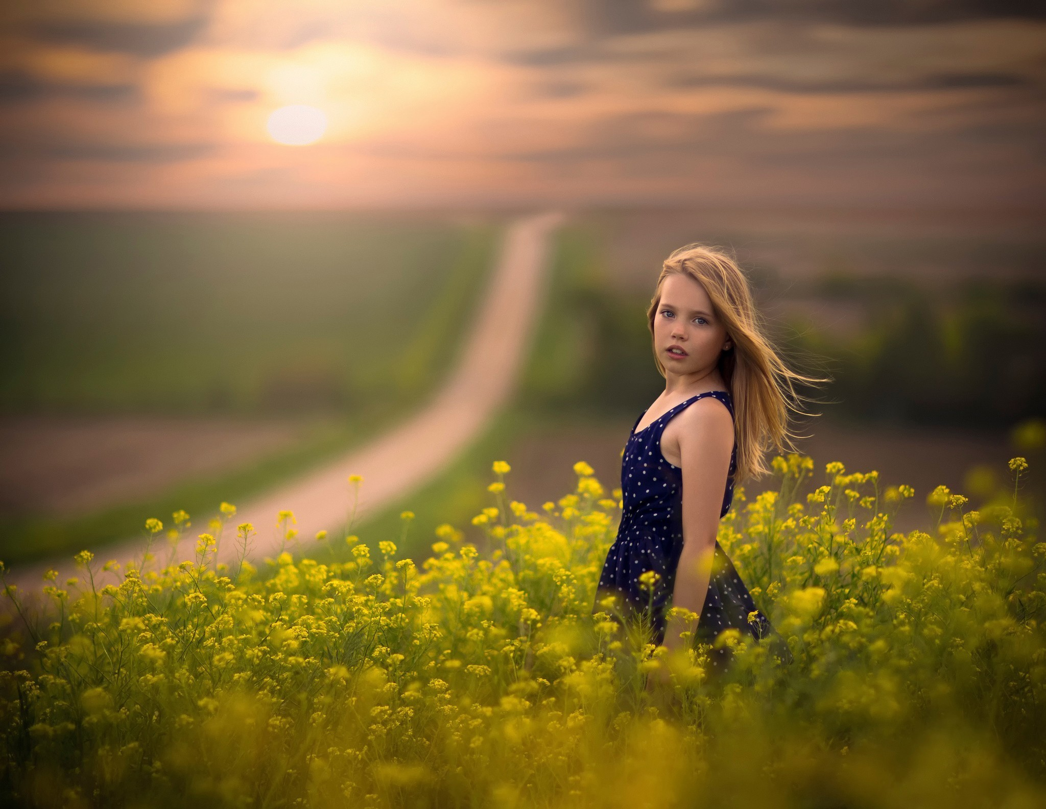 open mouth jake olson yellow flowers polka dots flowers children path sunlight depth of field looking at viewer blonde