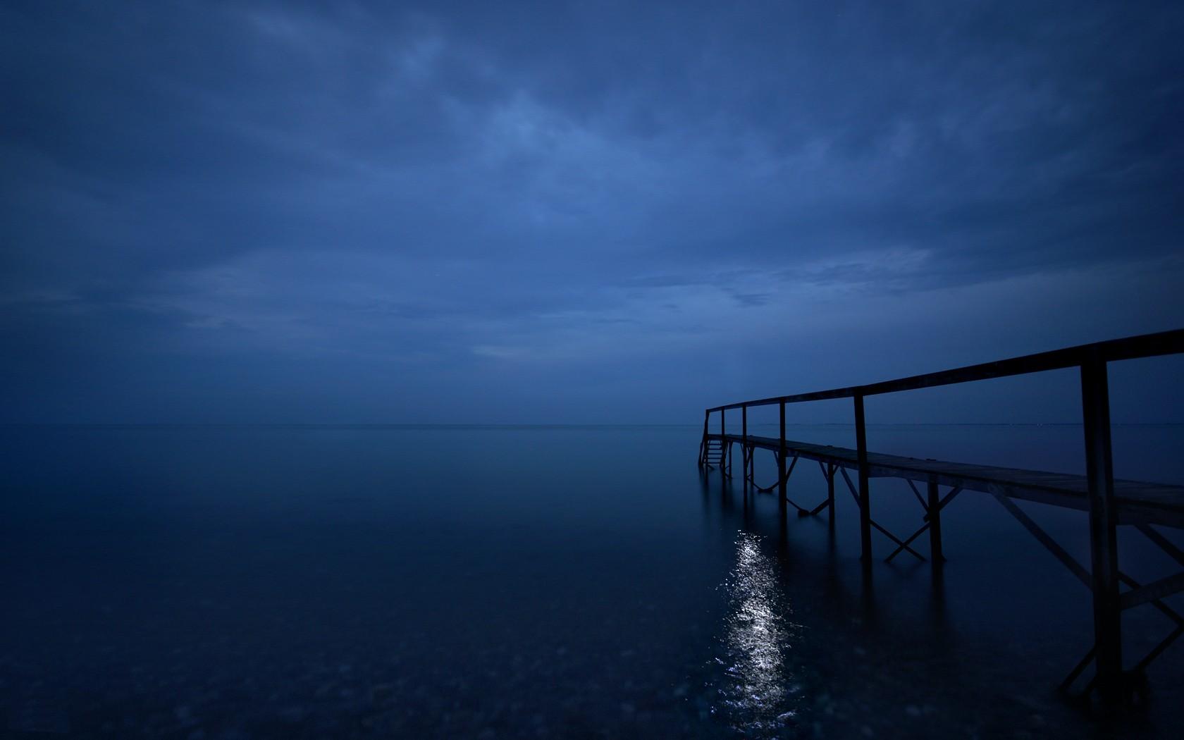 pier horizon sea sky nature