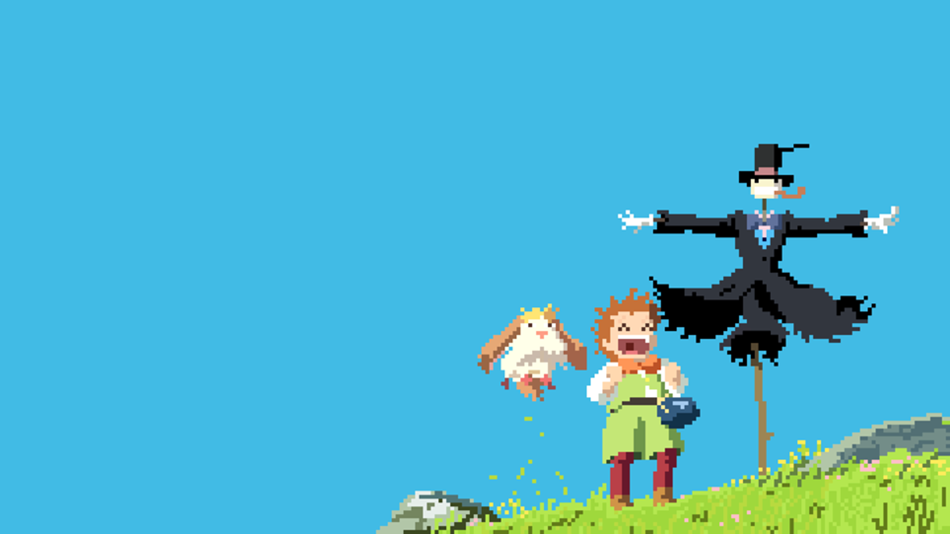 pixel art studio ghibli howl's moving castle pixels