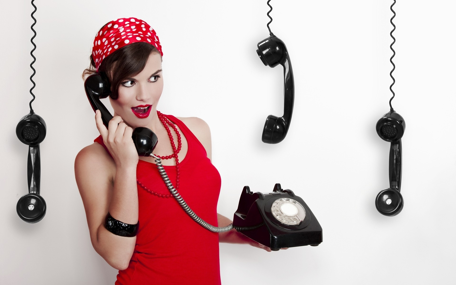 red dress polka dots telephone bandanas necklace model simple background vintage women