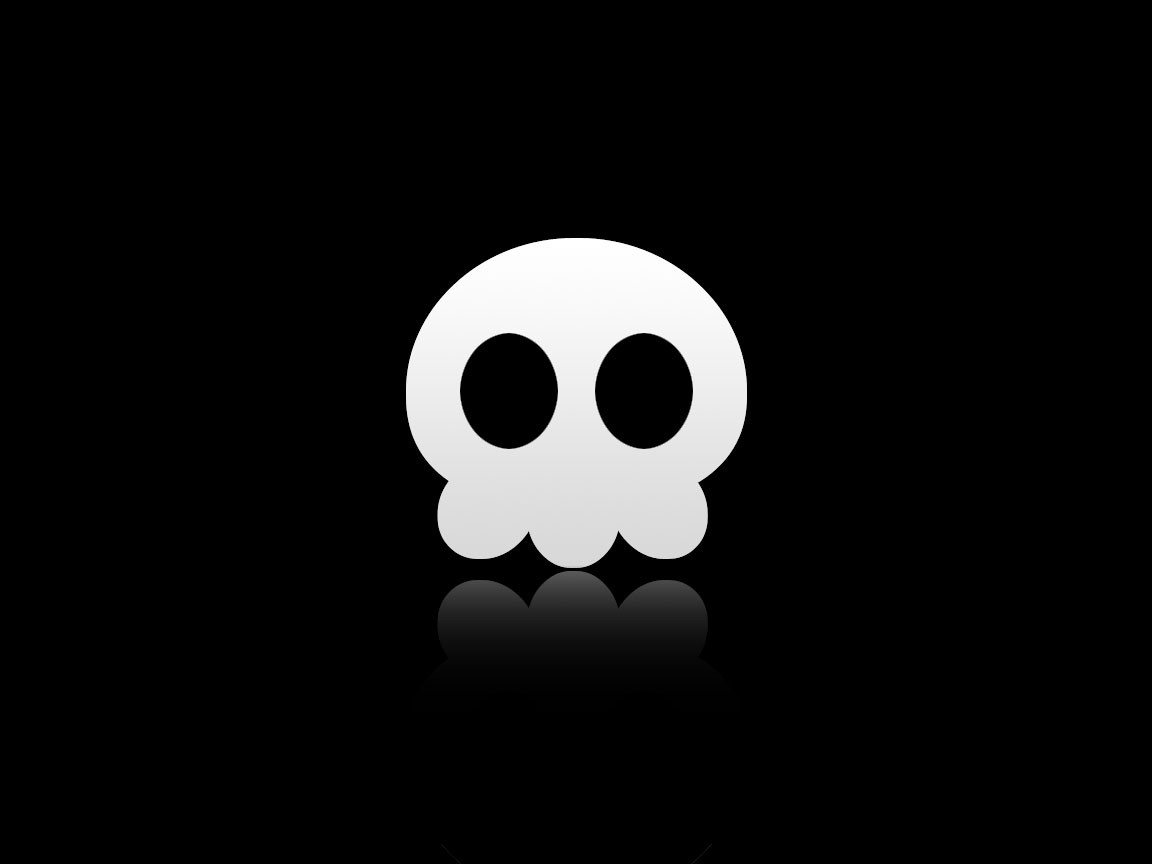 reflection black background simple background minimalism skull