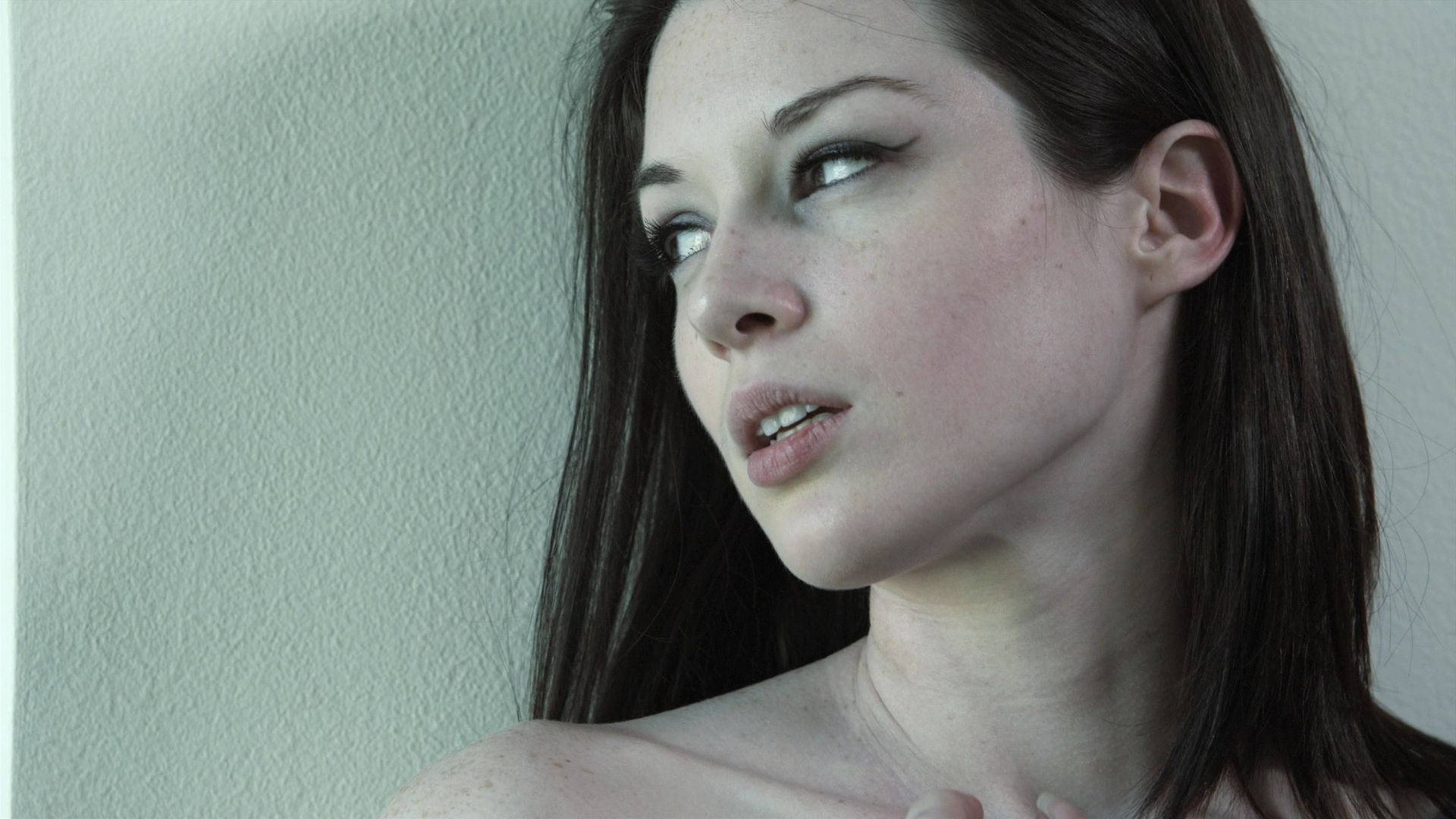 simple background brunette pornstar looking away women stoya brown eyes model