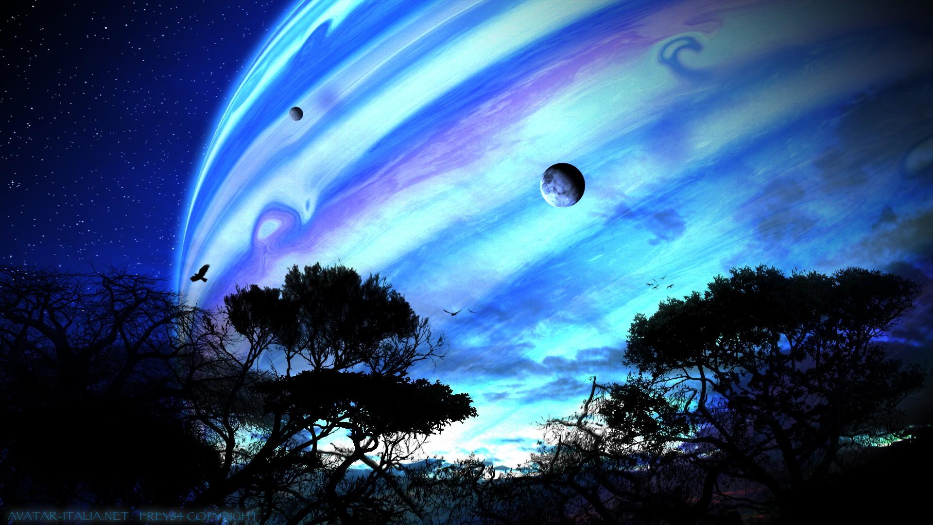 space avatar digital art trees planet