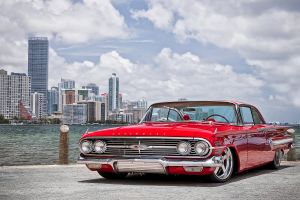 1960 chevrolet impala cityscape oldtimers car red cars vehicle